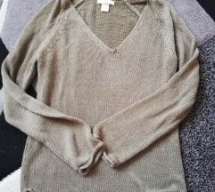 kekizöld, V nyakú kötött H&M felső, XS-es méret