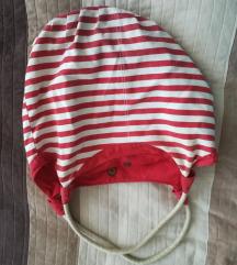 Piros-fehér csíkos táska
