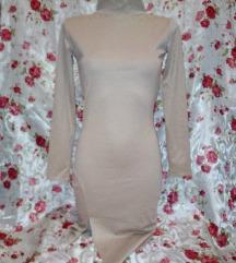 Új női bézs garbós,felvágott alkalmi midi ruha M