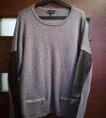 Bőr betétes pulóver