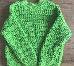 Mango Xs zöld horgolt pulóver oversize
