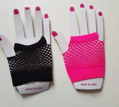 ÚJ, ujj nélküli hálós kesztyűk – pink és fekete