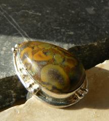 925 sterling ezüst jáspis gyűrű