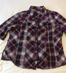 Moletti lila-fekete kockás pamut ing, 50-es