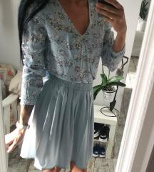 Csinos kék szett, rakott szoknya, blúz