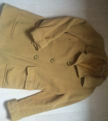 Vintage olasz mustár sárga gombos gyapjú kabát