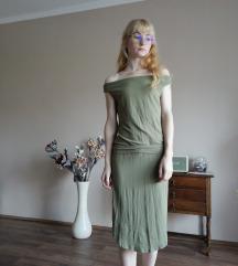 Khaki zöld off shoulder ruha Envy