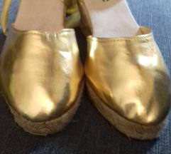 Espadrilles balerina, arany, új