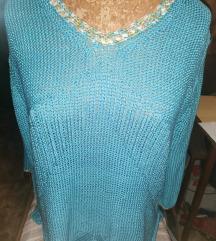 XL-es kék pulóver