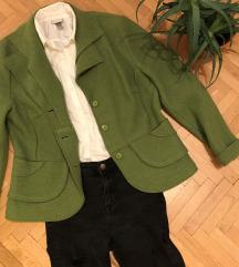 Zöld gyapjú kabát