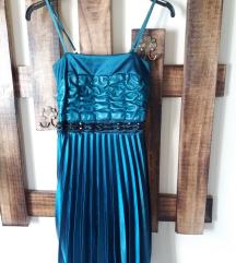Türkiz szatén pliszírozott alkalmi ruha