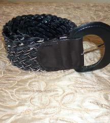 Új - Fekete lakk-csillámos öv - kabátra is 102cm