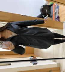 Manzara hosszú bőr kabát levehető szörmével