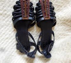 Fekete bőr szandálcipőke 36