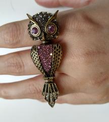 Nagyon szép nagy csillogós baglyos hármas gyűrű