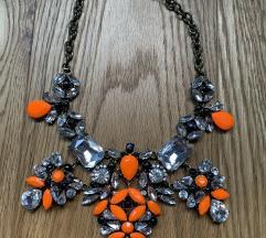 Narancs fekete swarovski statement köves nyaklánc