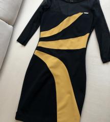 Újszerű ROUGE fekete-mustár sárga ruha