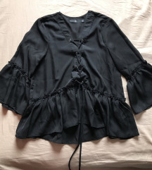 Missguided Lace Up Frill Hem Blouse