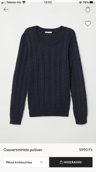 H&M M női sötétkék pulcsi