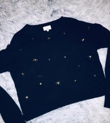 Fekete szívecskés-köves pulóver
