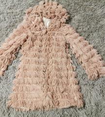 Púder színű szőrmés tavaszi kabát XS-S