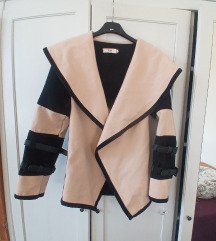 Victoria Beckham beige tavaszi kabát övvel S