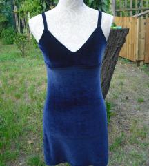 Kék bársony rövid ruha S