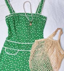 🌿 vintage, virágos zöld ruhácska, natúr cekker