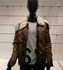Bershka kheki szőrme kapucnis téli kabát