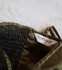 TOPSHOP csillogó zöld-arany skater ruha M