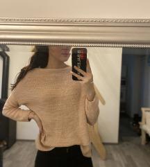 Rózsaszín széles nyakú kötött pulcsi