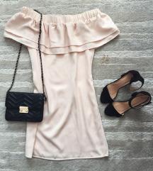 Púderrózsaszín Orsay fodros ruha