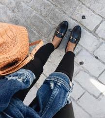Mokaszin fekete női cipő