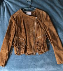 Valódi hasítottbőr őszi rojtos camel bőrkabát