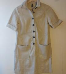 Bézs műbőr ruha