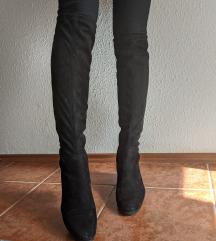 Magasszárú ZARA fekete velúr csizma