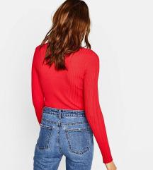 Bershka bordázott piros pulcsi / felső