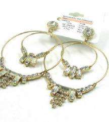 Arany színű,kétsoros,kristályos,karika fülbevaló