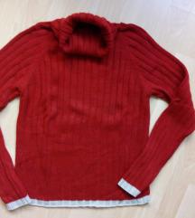 Piros-drapp garbós meleg pulcsi M-es