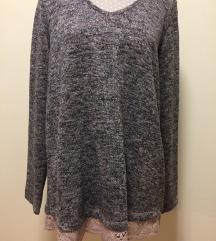 Szürke fényes szállal kötött hosszított pulóver