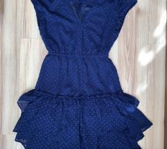 H&M sötét kék mini fodros ruha 32