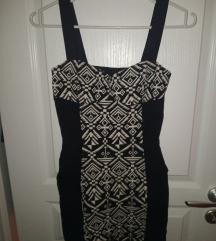 H&M XS-es aztákmintás fekete hátán kivágott ruha