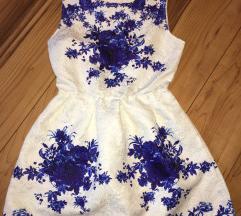 Fehér-kék alkalmi ruha