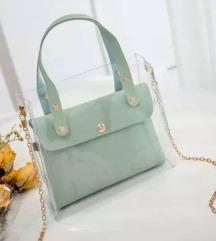 menta, zöld átlátszó táska