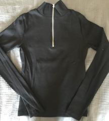 Fekete cippzáros bordás felső pulóver