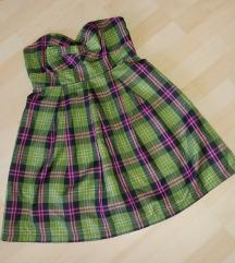 Miso zöld kockás pántnélküli, merevítős ruha S/M