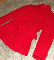 H&M élénk piros őszi/tavaszi szövet kabát