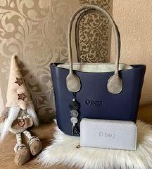 o bag kék mini táska, szett tárcával.Új