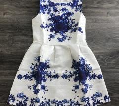 Kék virágmintás ruha - 36 ÚJ