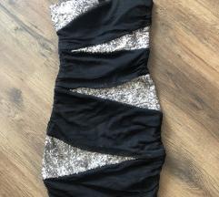 Tally Weijl fekete ezüst csőruha ruha címkés ÚJ